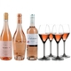 3 different closed bottles of rosé wine side by side and next to 4 rosé wine filled RIEDEL Extreme Rosé Wine/ Rosé Champagne glasses on white background.