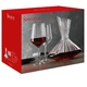 An unfilled Spiegelau Lifestyle Decanter next to an unfilled Lifestyle Red Wine Glass on white background with product dimensions