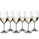 6 RIEDEL Vinum Viognier/Chardonnay glasses filled with white wine stand offset in 2 rows side by side on a white background