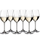6 white wine filled RIEDEL Vinum Sauvignon Blanc/Dessertwine glasses stand slightly offset next to each other