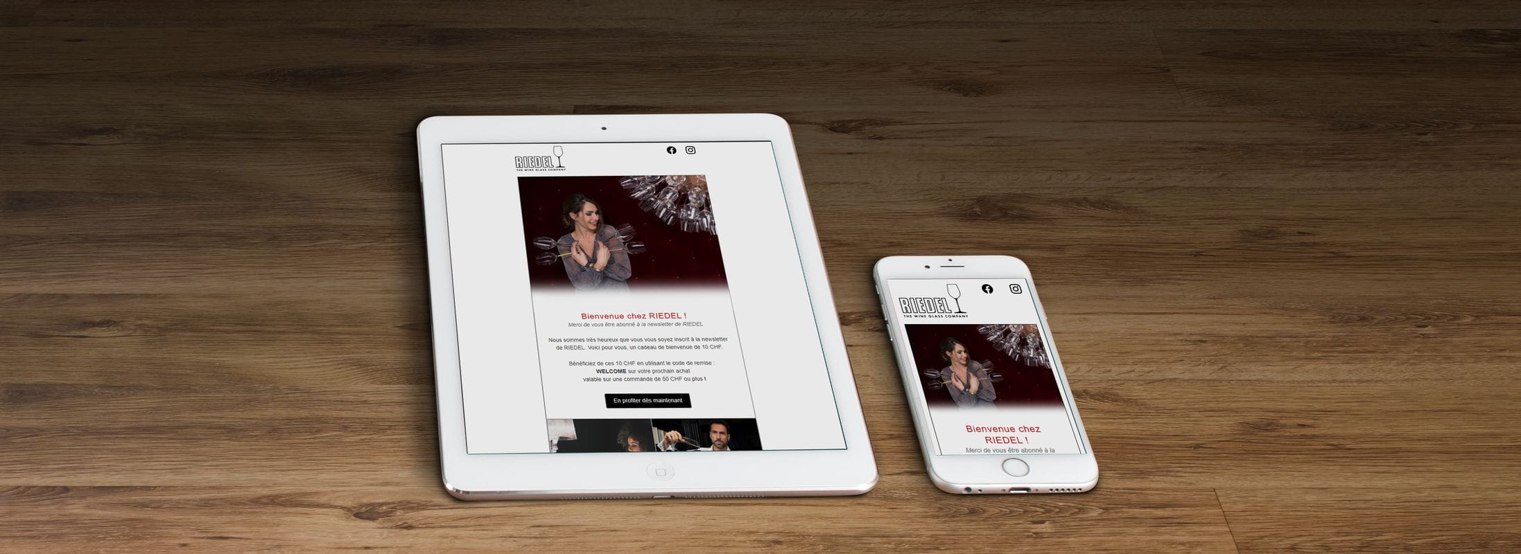 RIEDEL Newsletter available on desktop, table and mobile