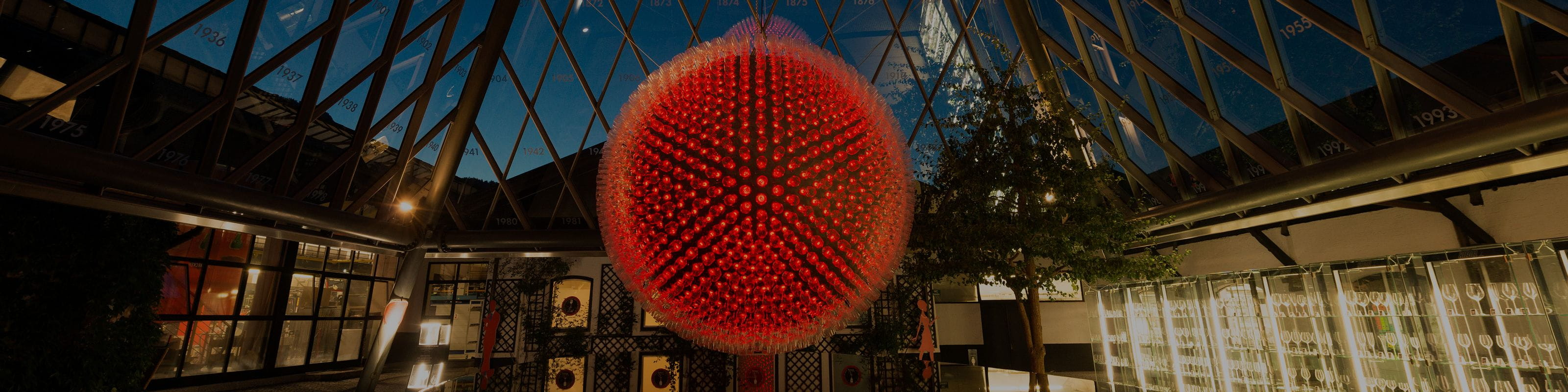 The RIEDEL glass globe lighted in red at the RIEDEL headquarter in Kufstein Austria.