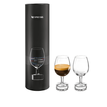 2 NESPRESSO Reveal Intense glasses next to the corresponding sales packaging
