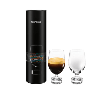2 NESPRESSO Reveal Lungo glasses next to the corresponding sales packaging