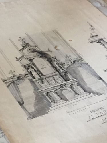 Hand-drawn pencil sketch of a church altar