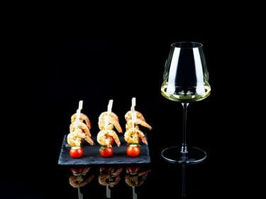 RIEDEL Winewings Sauvignon Blanc Glass with Shrimp-Tomato-Skewers