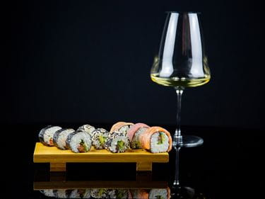 RIEDEL Winewings Riesling Glass with varieties of Maki & Sushi