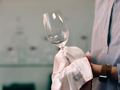 RIEDEL glass cleaning with RIEDEL microfiber towel