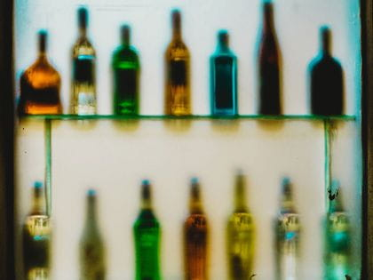 Abstract of glass bottles on a shelf