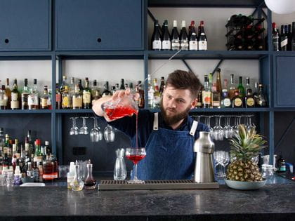 Bartender mixing cocktails at the Ugly Ducking in Melbourne