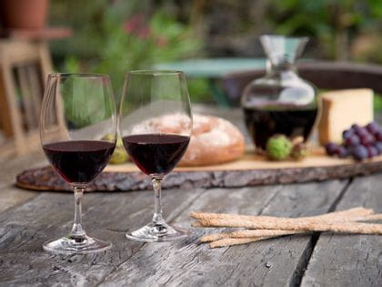 Ouverture Red Wine on an outdoor table