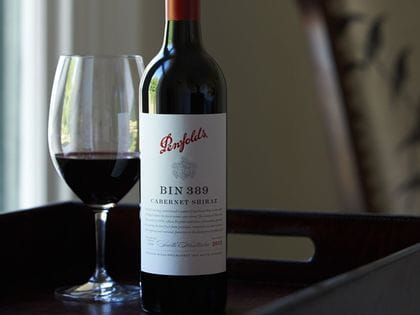 Riedel glass with a bottle of Penfolds Bin 389