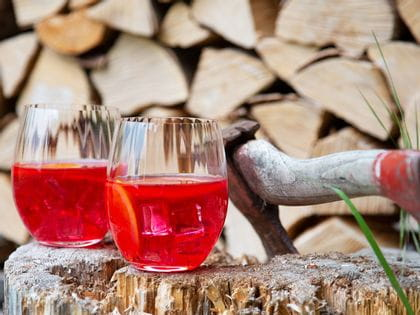 Two campari & tonic mixed drinks served in Tumbler Collection Optical O Longdrink stand on a sawn-off tree stump.