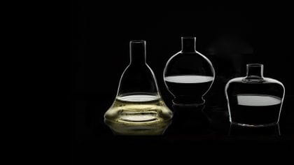 Filled RIEDEL M decanters: a Macon decanter, a Marne decanter and a Margeaux decanter