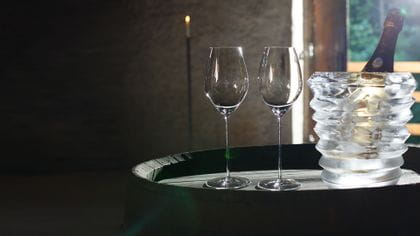 Two RIEDEL Superleggero Champagne Wine glasses waiting to be filled.
