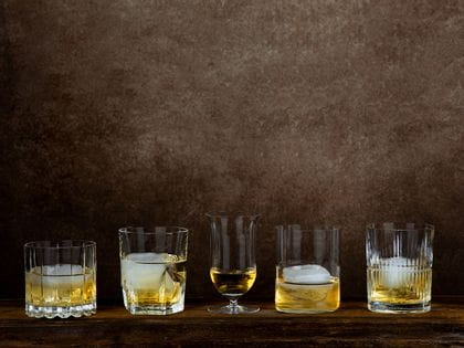 The range of RIEDEL Whisky glasses and tumblers side be side.