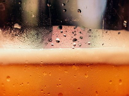 Close up of beer condensation